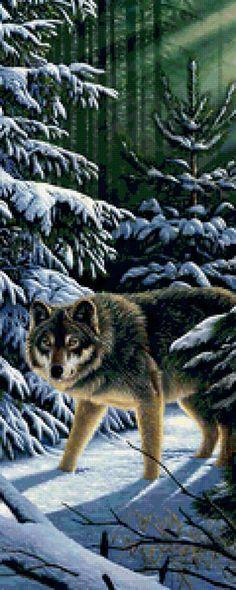 Superbe grille que ce loup dans une forêt enneigée Pour un peu cela donnerait envie de l'agrandir et d'en faire un poster de porte mais quel travail ^^