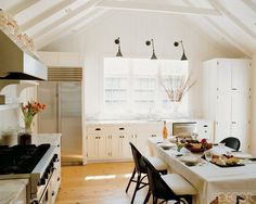 vaulted ceilings, cool lights.