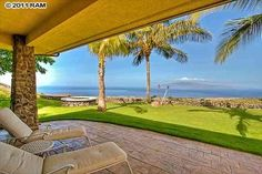 Gorgeous view from this stone patio of ocean