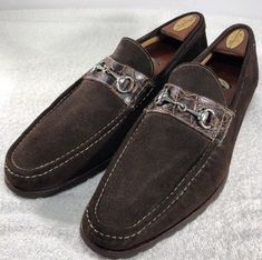 b7accded8de1 SANTONI Mens Dark Brown Suede Horse Bit Loafers Made In Italy Size 13D. eBay