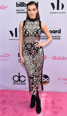 """HAILEE STEINFELD      says she's """"obsessed"""" with her leopard sequin David Koma midi worn with over-the-knee black boots.  Billboard Music Awards 2017 Best Dressed Stars"""
