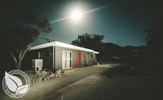 This mid-century bungalow is set in a beautiful Joshua Tree location just minutes from the Joshua Tree National Park entrance. Come feel the expansive space of the desert and night sky, while enjoying the amenities of these cabins. Palm Springs is 45 minutes away, and Los Angeles is only two hours away.