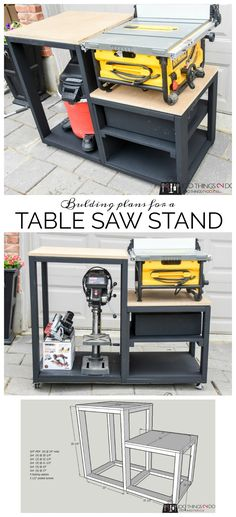 Create a workbench for your table saw using and some mdf. Building plans for a table saw stand, table saw station, table saw bench, table saw workbench. Woodworking Bench Plans, Beginner Woodworking Projects, Woodworking Furniture, Woodworking Crafts, Fine Woodworking, Popular Woodworking, Woodworking Machinery, Wood Plans, Woodworking Classes