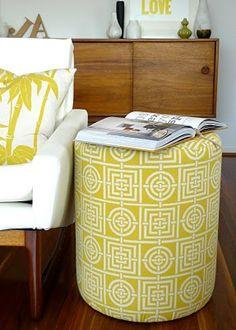 Florence Broadhurst Fabric | Pillow and Ottoman