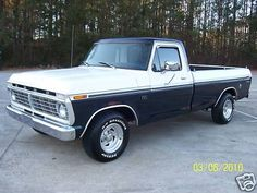 1974 Ford F100. Wow! This looks so much like my first truck, a '75 F100. Mine was dark blue and light blue.
