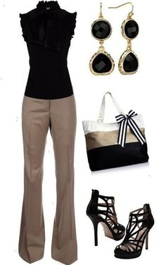 Classy outfit love khaki and black. i'd wear simple shoes. no hears. Casual Work Outfits, Business Casual Outfits, Mode Outfits, Classy Outfits, Fall Outfits, Fashion Outfits, Womens Fashion, Fashion Tips, Fashion Trends