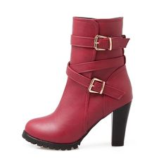 52.50$  Buy here - http://alis6e.shopchina.info/go.php?t=32738797088 - Brand New Winter Classic Red Black Women Platform Ankle Riding Boots Gray Lady Snow Shoes Chunky Heel EB83 Plus Big size 10 43 52.50$ #magazineonlinewebsite