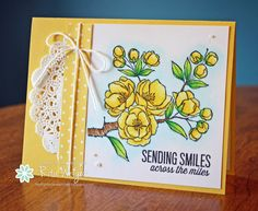 Stampin' Up! ... handcrafted card fro Rita's Creations:  Indescribable Gift flowers ... yellow ... luv the light blue shadowing to make the image stand out ...