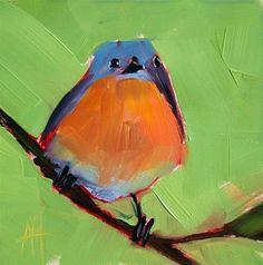 """Robin no. 48 Painting"" - Original Fine Art for Sale - © Angela Moulton"