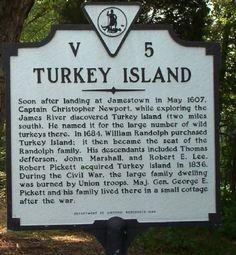 henrico county virginia history   Turkey Island Marker Photo, Click for full size