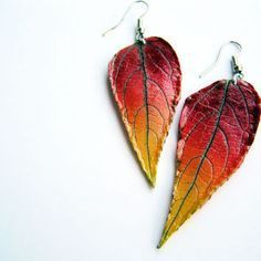 Autumn leaf earrings- polymer clay - red and yellow ombre leaf earrings- dangle earrings- autumn- woodland- boho-nature inspired
