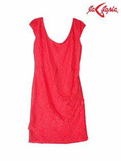 Vestido manga corta - Encaje color Coral