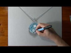 Watch on YouTube how I draw this silver necklace and aquamarine pendant (HD video)