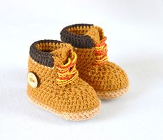 Timberland Style Baby Booties Crochet Pattern