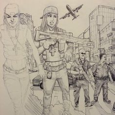 Jack Ngo Art  Random sketching. I think I've been watching too many LA cop movies.  Biro on cartridge paper.