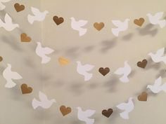 Christening Garland - Gold & White Dove Baptism decorations - Wedding Garland - Religious Baby Dedication Decor - Your Color choice from anyoccasionbanners Decoration Communion, Baptism Party Decorations, Heart Decorations, Valentines Day Decorations, First Communion Decorations, First Communion Party, First Holy Communion, Garland Wedding, Wedding Confetti