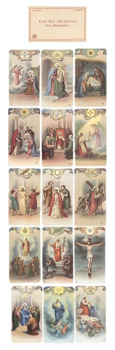 Mysteries of the Rosary Catholic Prayers, Catholic Art, Catholic Saints, Religious Art, Jesus E Maria, Vintage Holy Cards, Religious Pictures, Holy Rosary, Biblical Art