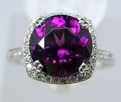 Beautiful, Natural and  Rare Purple Garnet and Diamond Ring at @larcjewelers
