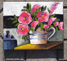 Original Acrylic Painting Pink Flowers in a Vase by SuelaArt, $35.00