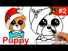 How to draw Puppy Christmas Present step by step Easy Holiday Special