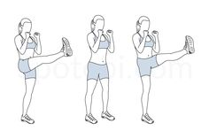 High kicks exercise guide with instructions, demonstration, calories burned and muscles worked. Learn proper form, discover all health benefits and choose a workout.