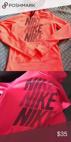 Nike Neon Pink Hoodie Barely worn, practically new. Cowl neck hoodie, front pocket, and thumb holes. Color is very bright neon pink but hard to photograph. 2nd pic more accurate. 💕 15% off 2+ bundles and offers considered 🍀 Nike Tops Sweatshirts & Hoodies