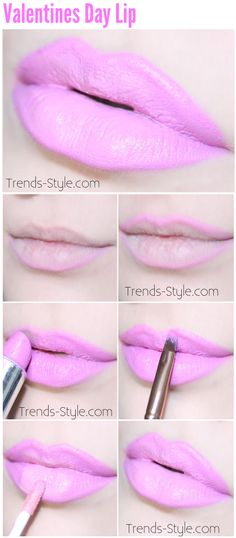 "Beautiful pink Valentines Day Lip Tutorial. Using NYX cosmetics ""dolly pink"" lip liner. For the lipstick, Dose of colors ""love potion"". The lip gloss is Dose of colors ""petals"". Opv lip brush and concealer brush to clean up the edges."