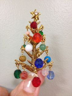 Hollycraft Christmas brooch pin Dangles Vintage  by neonurse2, $95.00