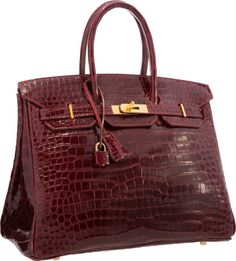 Luxury Accessories:Bags, Hermes 35cm Shiny Rouge H Porosus Crocodile Birkin Bag with GoldHardware . Excellent Condition . Image #1