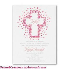 Floral Cross Girl Baptism Invitation - delicate pink flowers in the shape of a cross adorn this invitation.  Click here to see this and more baptism & christening invitations -  www.PrintedCreations.carlsoncraft.com.  Find more unique celebration ideas at www.baptism-and-christening-keepsakes.com.