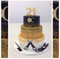 Gold ombre Hairdressers cake decorated with scissors, comb and straighteners for a 21st birthday