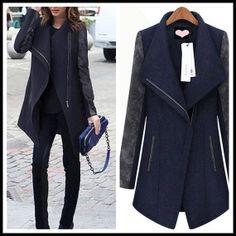 Women Blue and Black Wool coat Cashmere coat by KoreanFashionBuy, $72.90