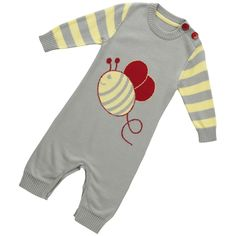 Playsuit - Busy Bee Knit - available in sizes 0-3 months up to 6-12 months - RRP £32.00