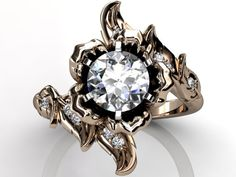 14k rose gold diamond unusual unique flower engagement by Jewelice, $1,260.00