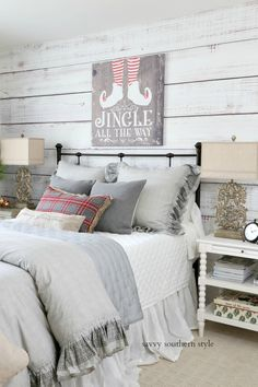 Whimsical Christmas Guest Bedroom - Happy Christmas - Noel 2020 ideas-Happy New Year-Christmas Fall Bedroom, Christmas Bedroom, Bedroom Decor, Bedroom Ideas, Master Bedroom, Style At Home, Home Renovation, Farmhouse Style Bedrooms, Savvy Southern Style