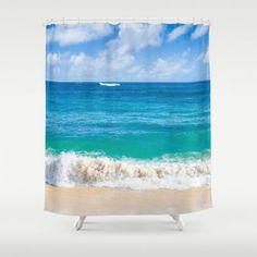 Hawaiian Shower Curtain #homedecor #beachlovedecor #showercurtain #bathdecor #coastal #ocean #beach #Hawaii #Hawaiian #water #tropical #bathroomdecor #bath #shower #blue #teal