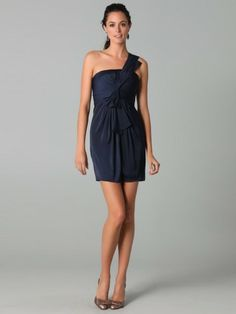 Sheath / Column One Shoulder Bowknot Sleeveless Short / Mini  Chiffon Cocktail Dress / Homecoming Dress