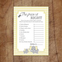 Elephant Baby Shower Price Is Right Game by GraphicWispPrints