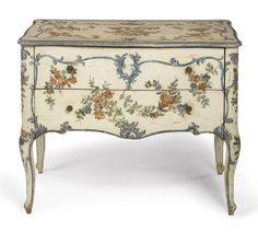 An Italian Rococo Polychrome-Painted Commode, Genoa, ca 1760 (78.5cm x 98cm x 52cm)