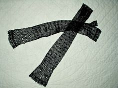 19th Century Victorian Knit Netted Long Black Fingerless Mitts Gloves