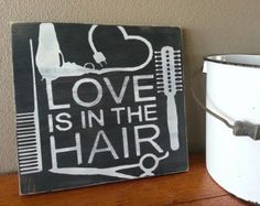 Hand Painted HAIRSTYLIST Hair Dresser Beautician Cosmetologist Theme WOOD SIGN - Salon Decor - Salon Sign