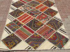 "Vintage handmade patchwork rug Multi Colour 82,6"" x 49,6"" (210 cm x 126 cm )"