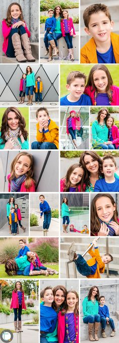 Bright color and playful family session in the Dallas Arts District.  Click through to see this fun collage of portraits.   ©Tracy Allyn Photography