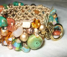Fall Colors WOODLAND FOREST  Beaded  Bracelet by SerebaDesigns, $66.00