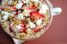 Strawberry Feta Quinoa Salad  -1C quinoa, dry  -2C water  -2C sliced strawberries  -Crumbled Feta Cheese, to taste (I probably used 1/3C)  -1T basil, fresh or dry  -1/2C chopped walnuts  -2-3T honey  -1T olive oil