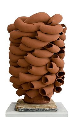 by Torbjørn Kvasbø (2010, unnamed). Stacked unglazed terracotta. Photo Thomas Tveter; fast and easy version could be made using extruded clay