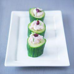 Cucumber with ham mousse