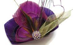 Bridal Peacock Feather RASPBERRY Magenta and Plum Bridal Hair Fascinator Clip with Vintage Rhinestone Jewel OOAK and Gold Skeleton Leaf