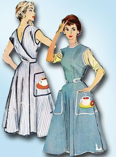 1950s Vintage McCall Sewing Pattern 1948 Misses Coffee & Doughnut Apron Sz…