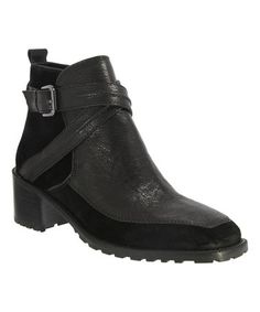 Loving this Black Tiberia Glazed Leather & Suede Ankle Boot on #zulily! #zulilyfinds